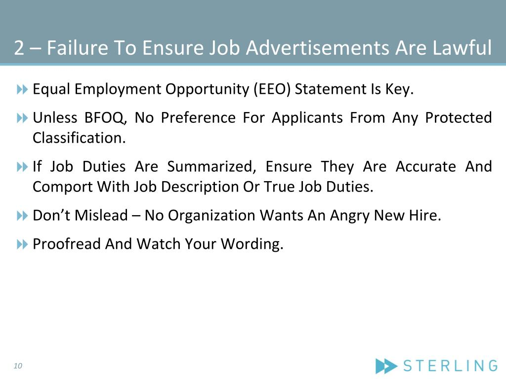 2 – Failure To Ensure Job Advertisements Are Lawful