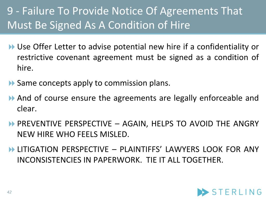 9 - Failure To Provide Notice Of Agreements That Must Be Signed As A Condition of Hire