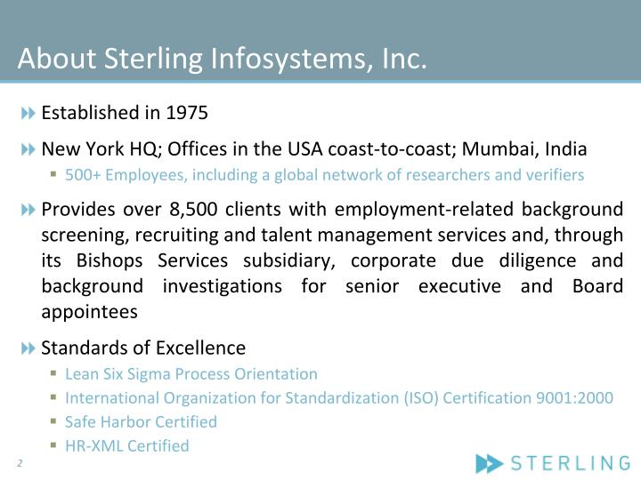 About sterling infosystems inc