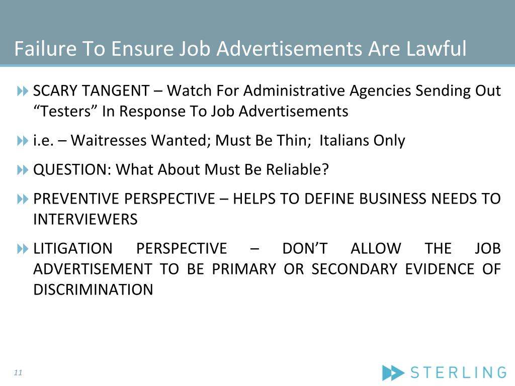 Failure To Ensure Job Advertisements Are Lawful