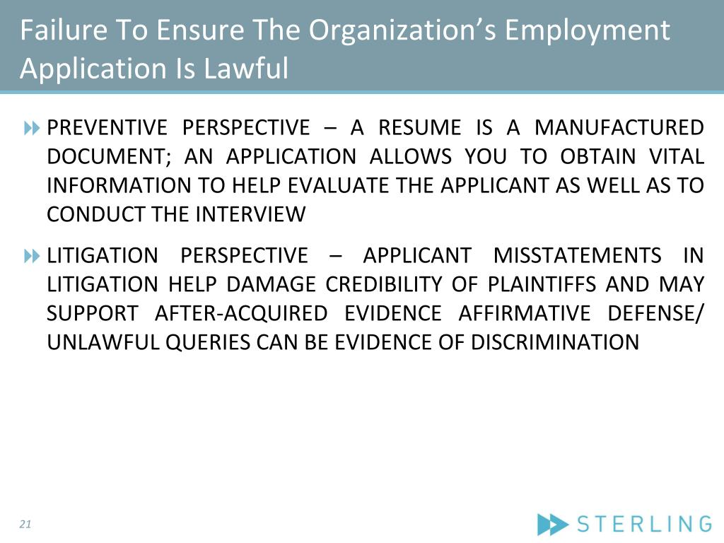 Failure To Ensure The Organization's Employment Application Is Lawful