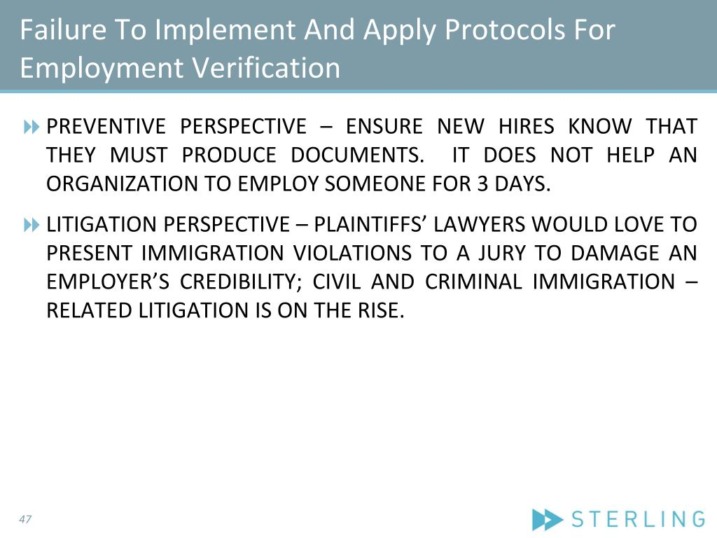 Failure To Implement And Apply Protocols For Employment Verification