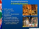 accomplishments a growing economy