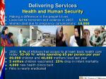 delivering services health and human security