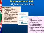 disproportional aid afghanistan vs iraq