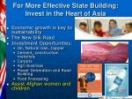 for more effective state building invest in the heart of asia