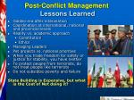 post conflict management lessons learned