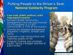 putting people in the driver s seat national solidarity program