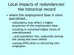 local impacts of redundancies the historical record
