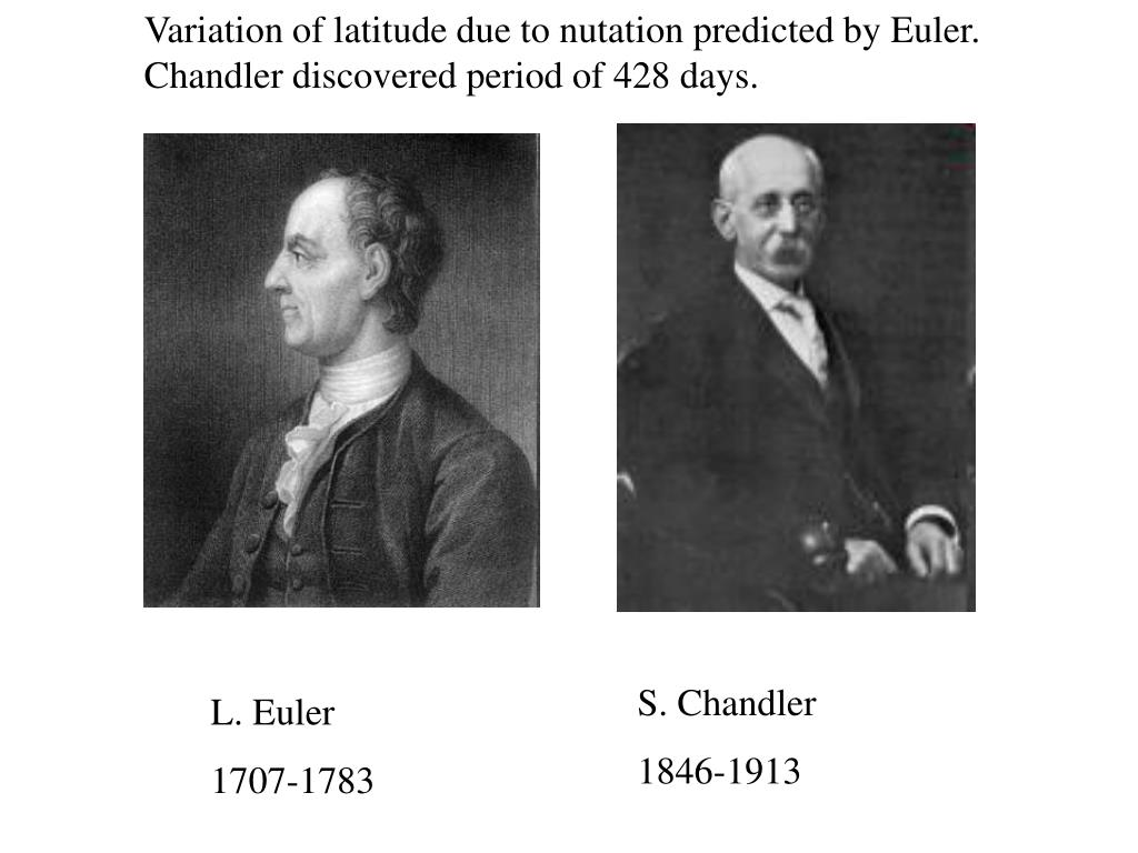 Variation of latitude due to nutation predicted by Euler. Chandler discovered period of 428 days.
