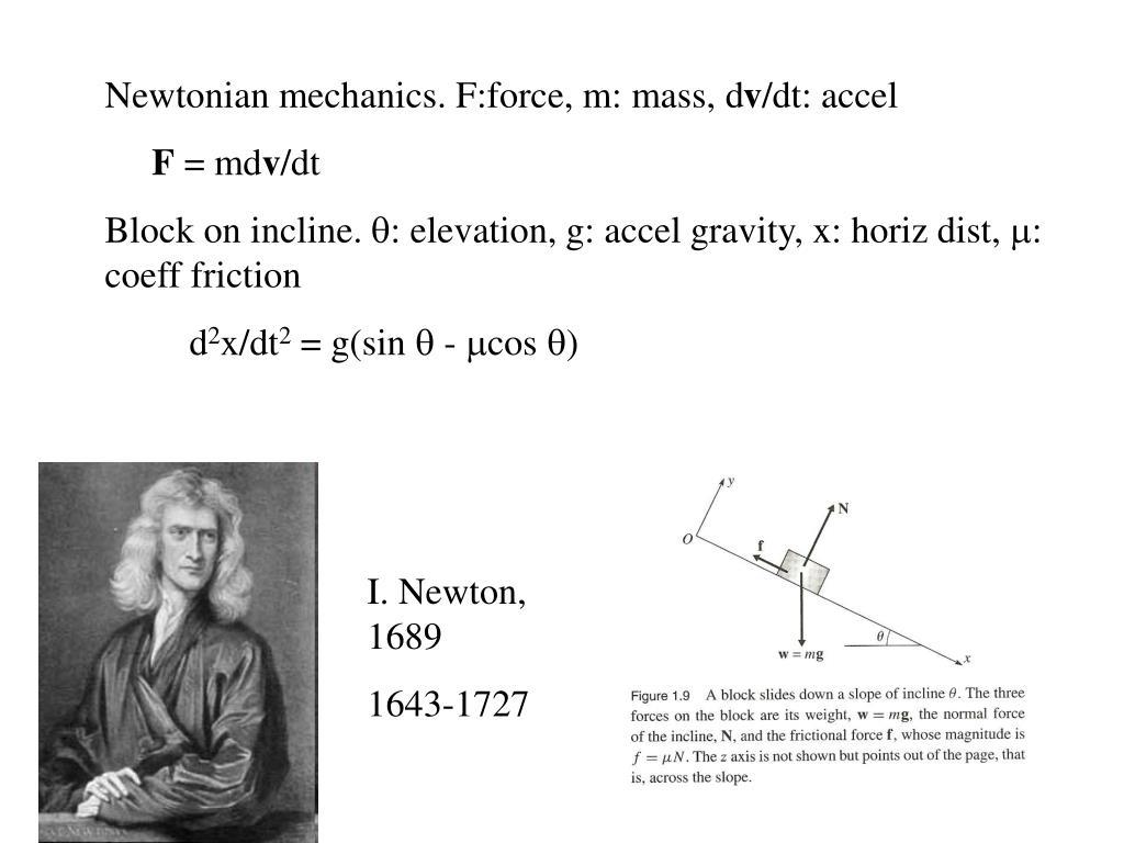 Newtonian mechanics. F:force, m: mass, d