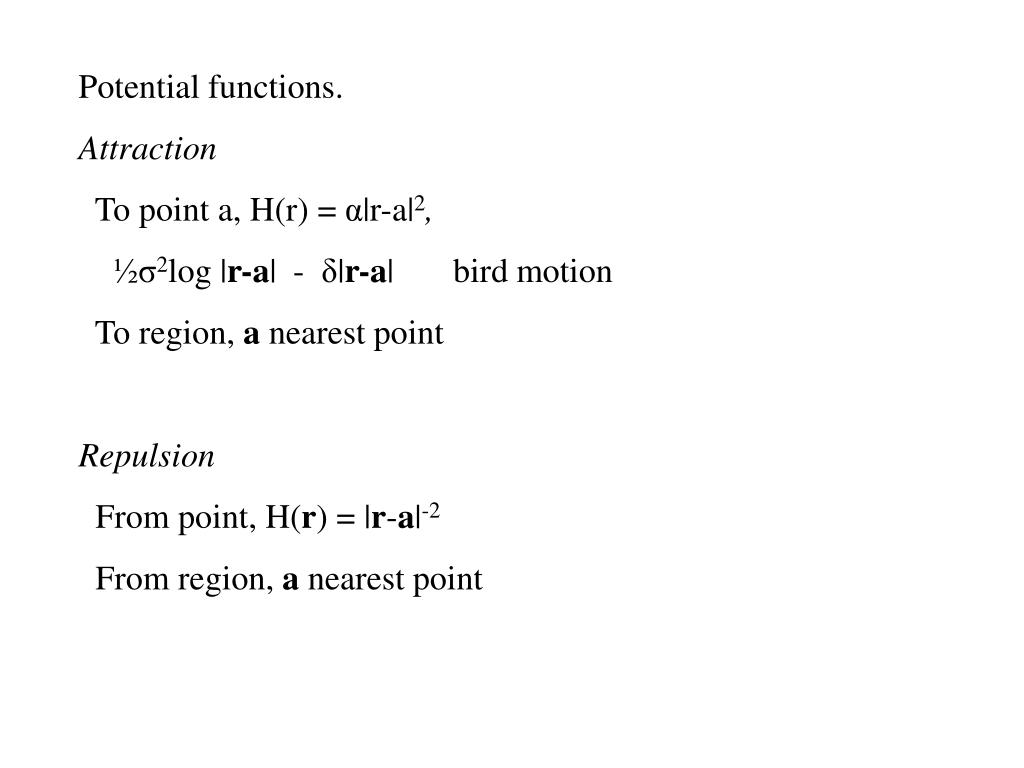 Potential functions.