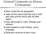 general comments on african civilizations