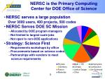 nersc is the primary computing center for doe office of science