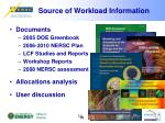source of workload information