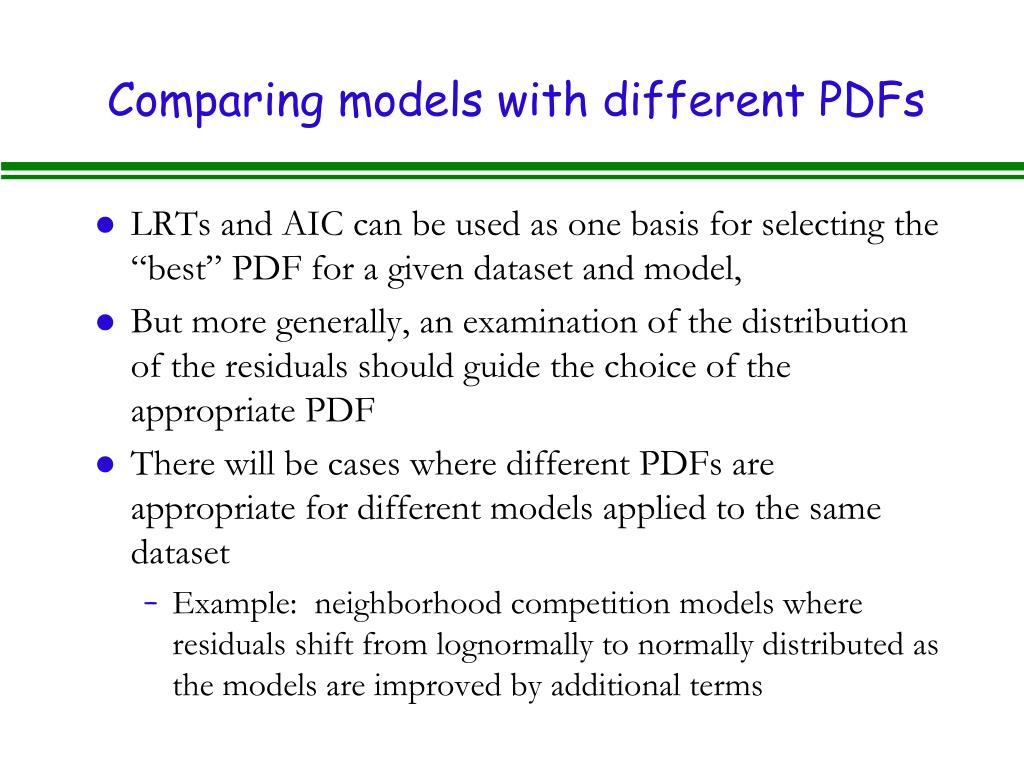 Comparing models with different PDFs
