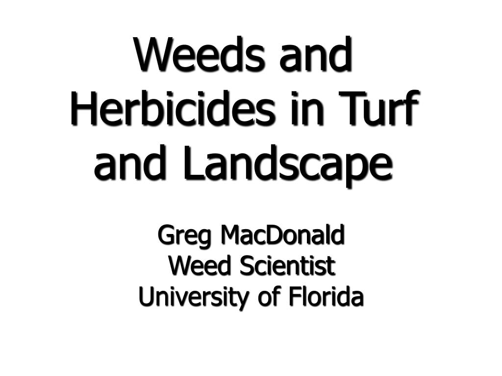 weeds and herbicides in turf and landscape l.