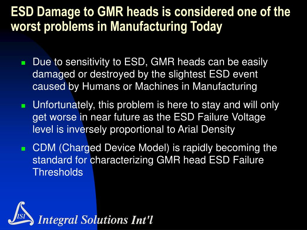 ESD Damage to GMR heads is considered one of the worst problems in Manufacturing Today