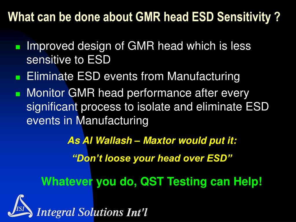 What can be done about GMR head ESD Sensitivity ?