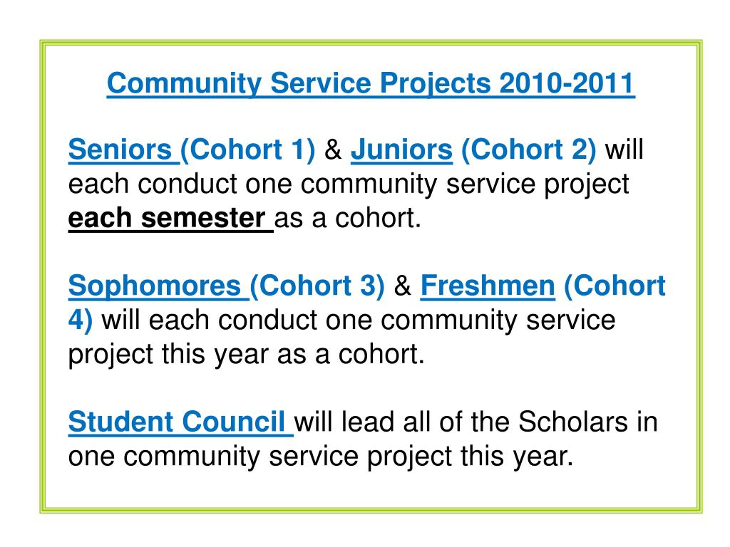 Community Service Projects 2010-2011
