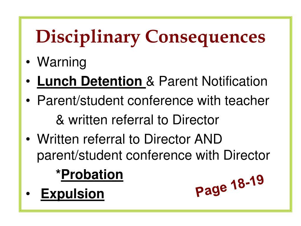 Disciplinary Consequences