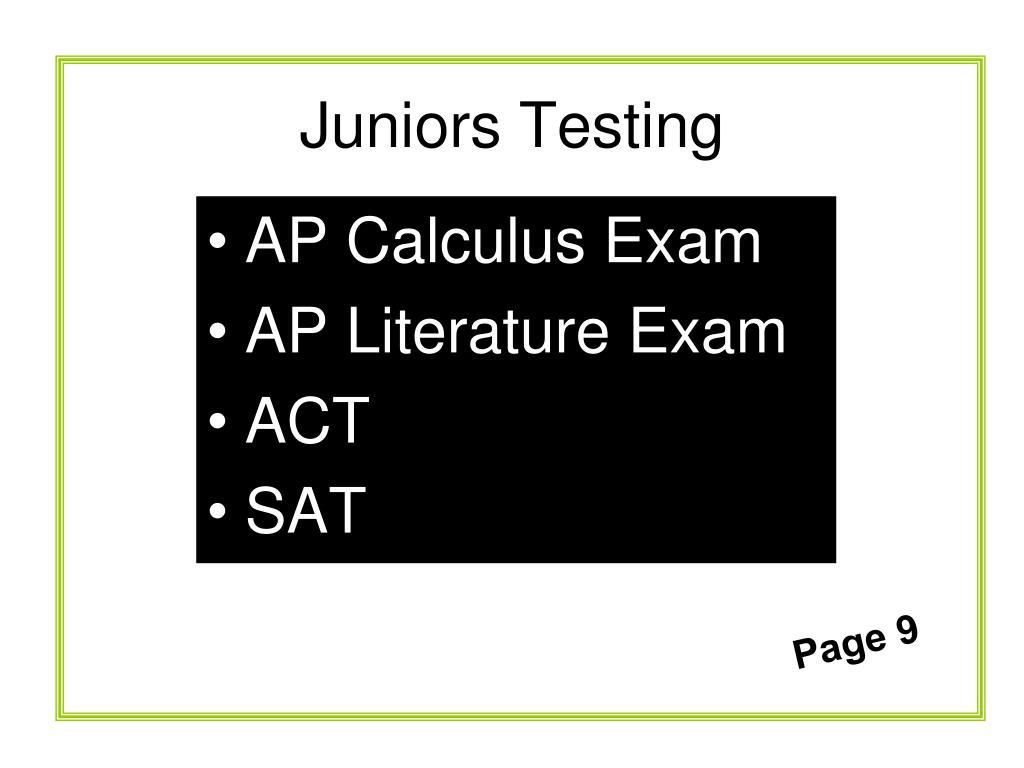 Juniors Testing