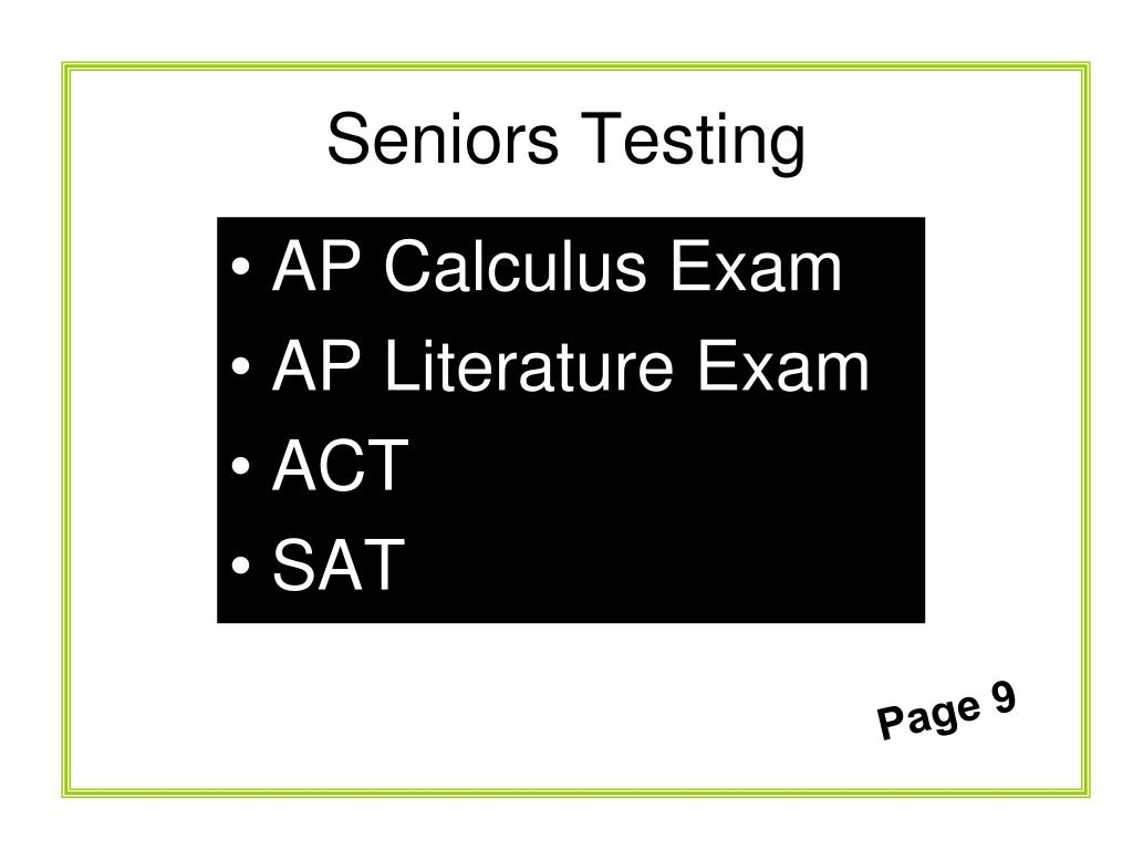 Seniors Testing