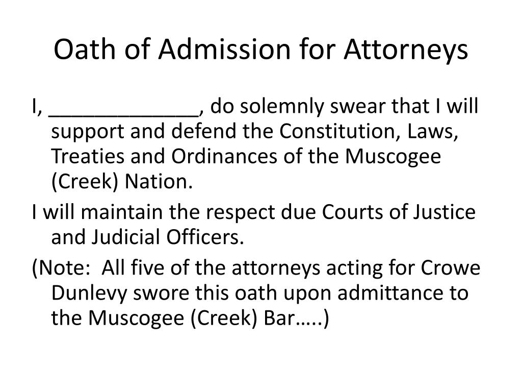 Oath of Admission for Attorneys