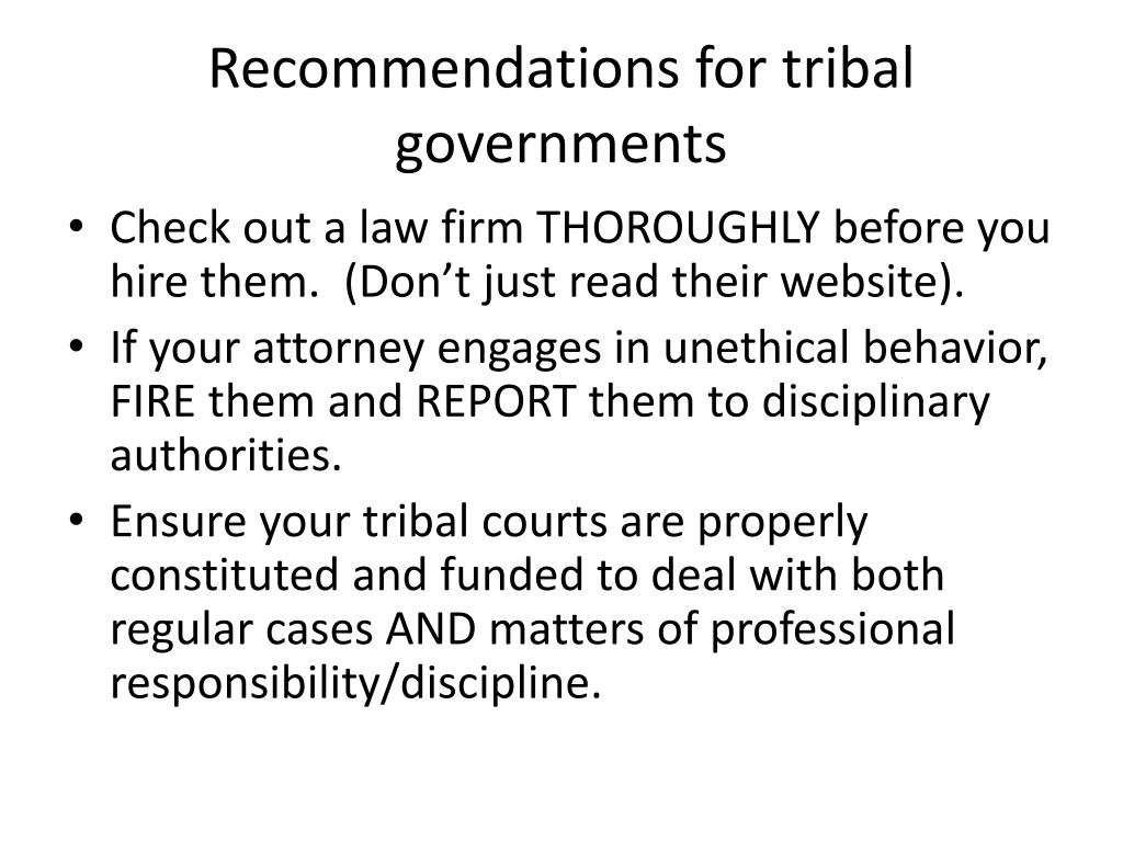 Recommendations for tribal governments
