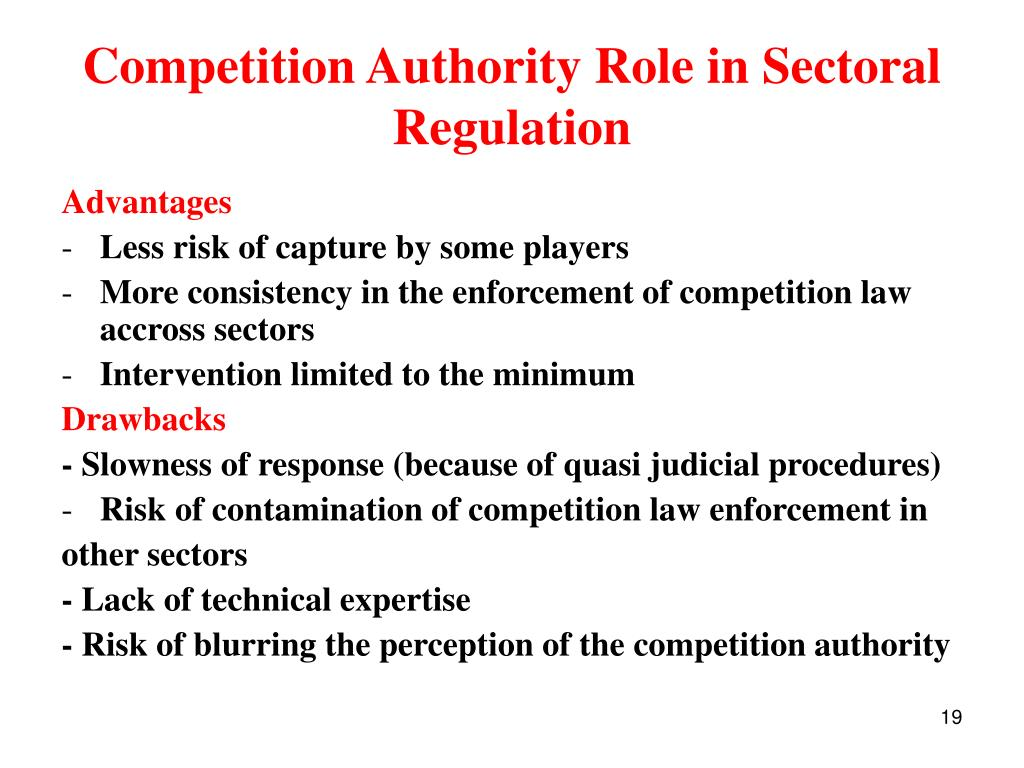 Competition Authority Role in Sectoral Regulation