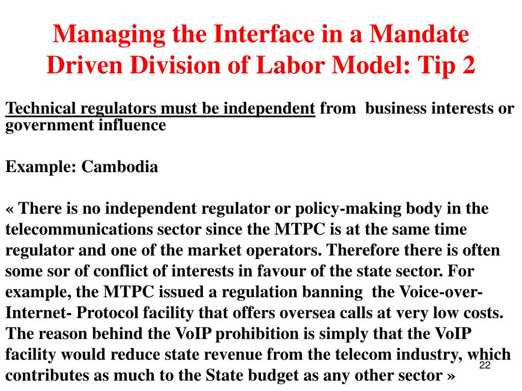 Managing the Interface in a Mandate Driven Division of Labor Model: Tip 2