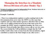 managing the interface in a mandate driven division of labor model tip 2