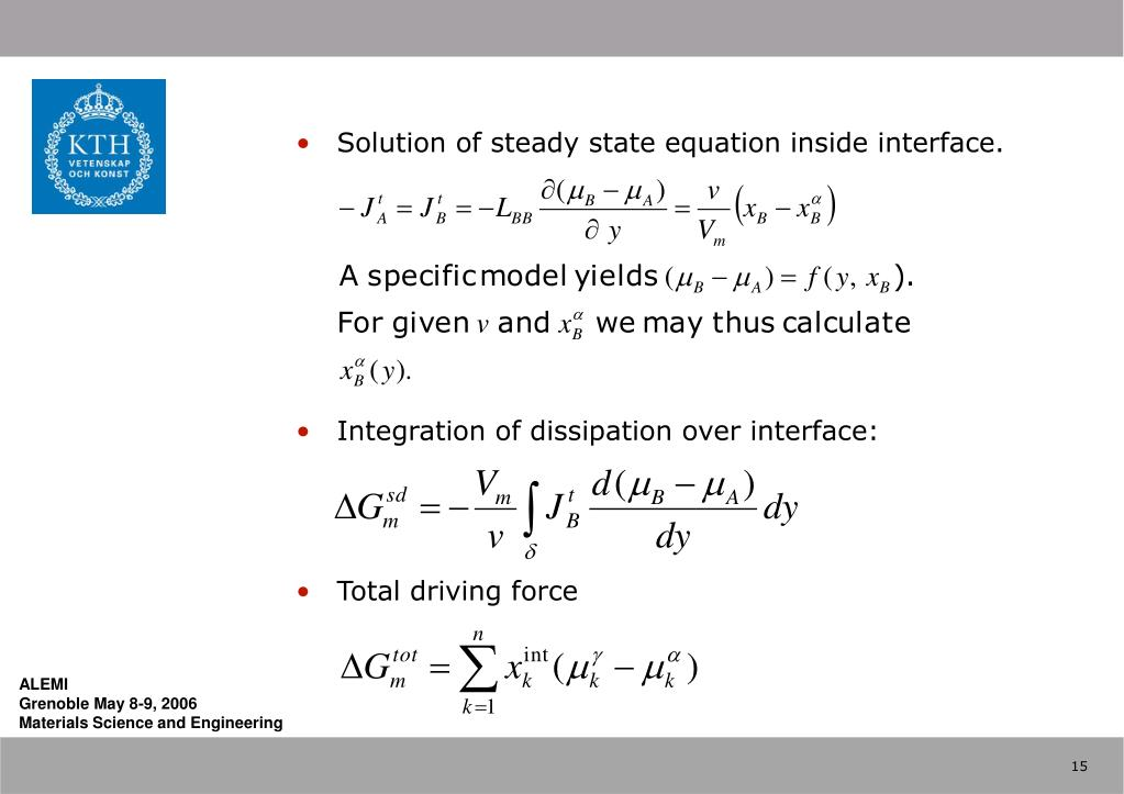 Solution of steady state equation inside interface.