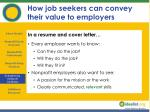 how job seekers can convey their value to employers