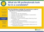 what do hr professionals look for in a candidate
