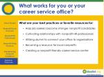 what works for you or your career service office
