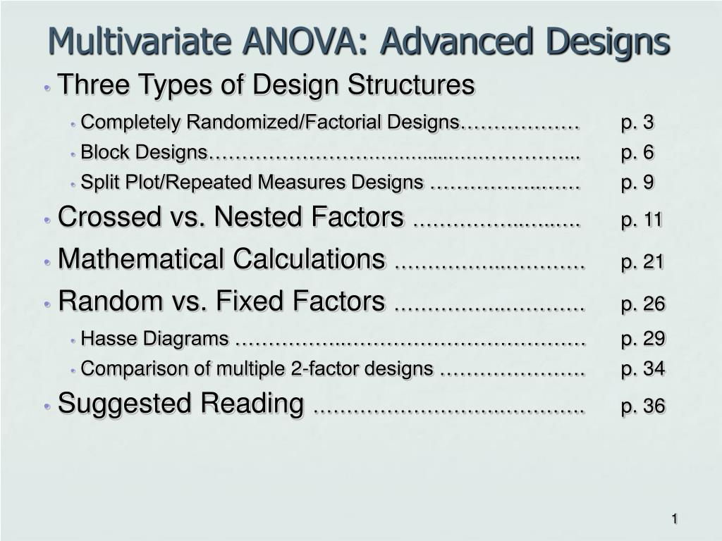 multivariate anova advanced designs l.