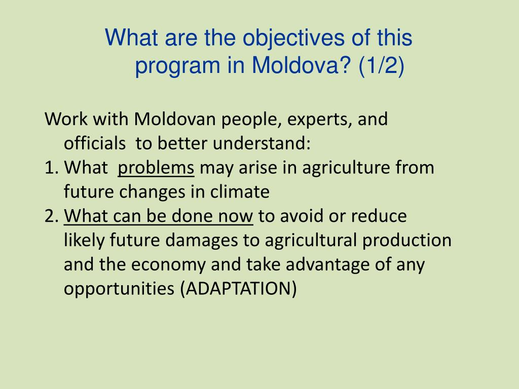 What are the objectives of this program in Moldova? (1/2)