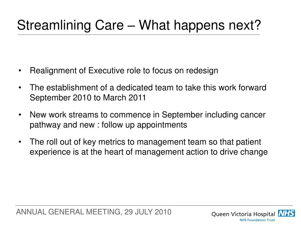Streamlining Care – What happens next?
