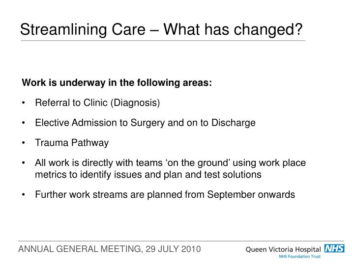 Streamlining care what has changed
