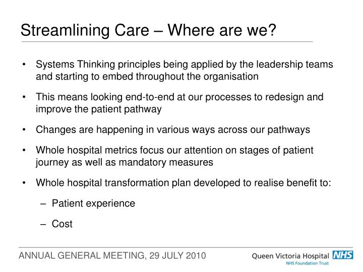 Streamlining care where are we