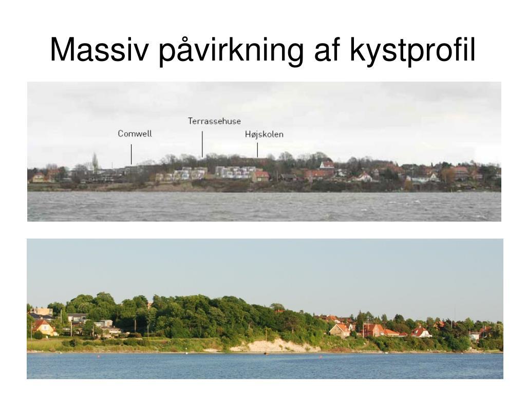 Massiv påvirkning af kystprofil