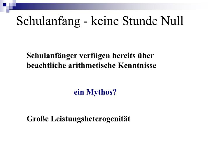 Schulanfang - keine Stunde Null