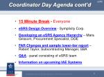 coordinator day agenda cont d