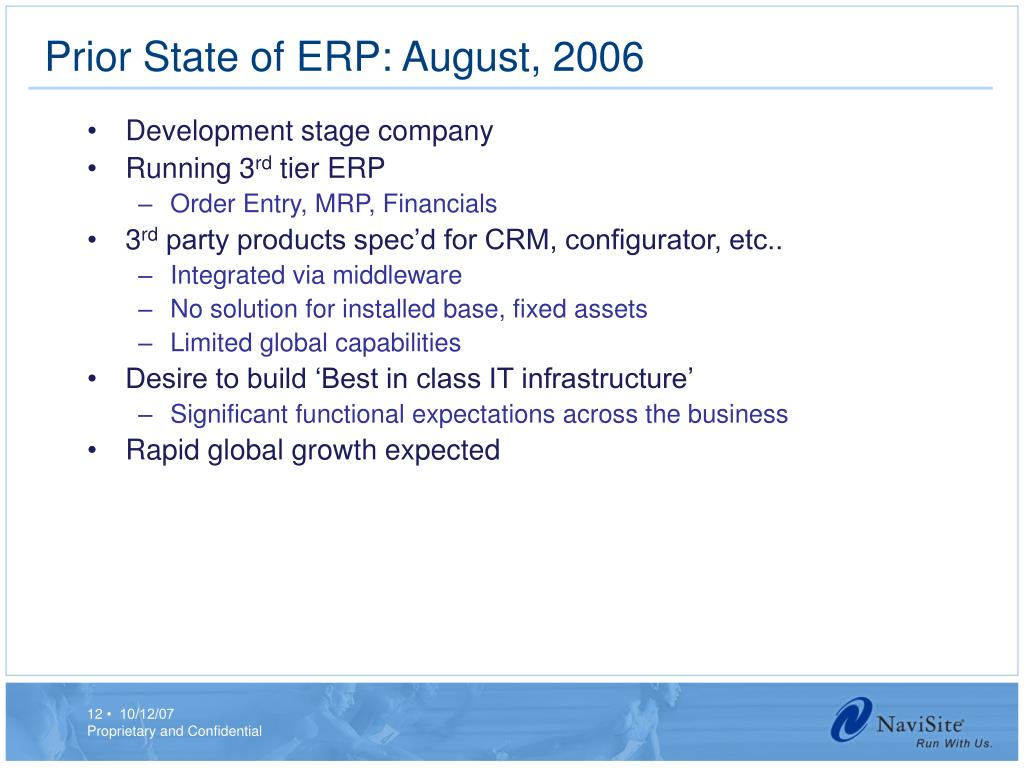 Prior State of ERP: August, 2006