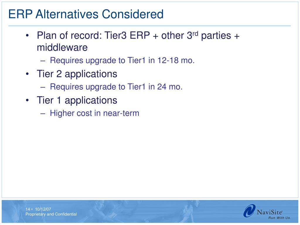 ERP Alternatives Considered