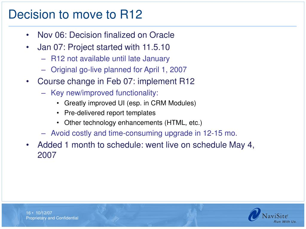 Decision to move to R12