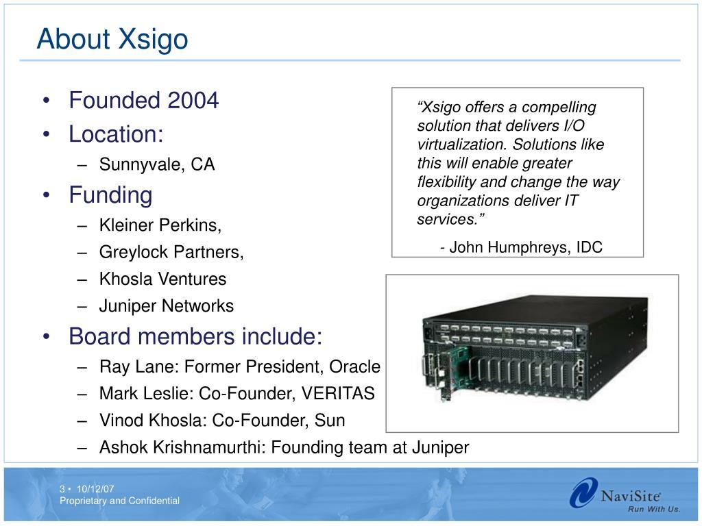 About Xsigo