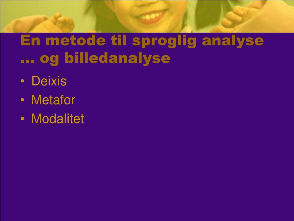 En metode til sproglig analyse