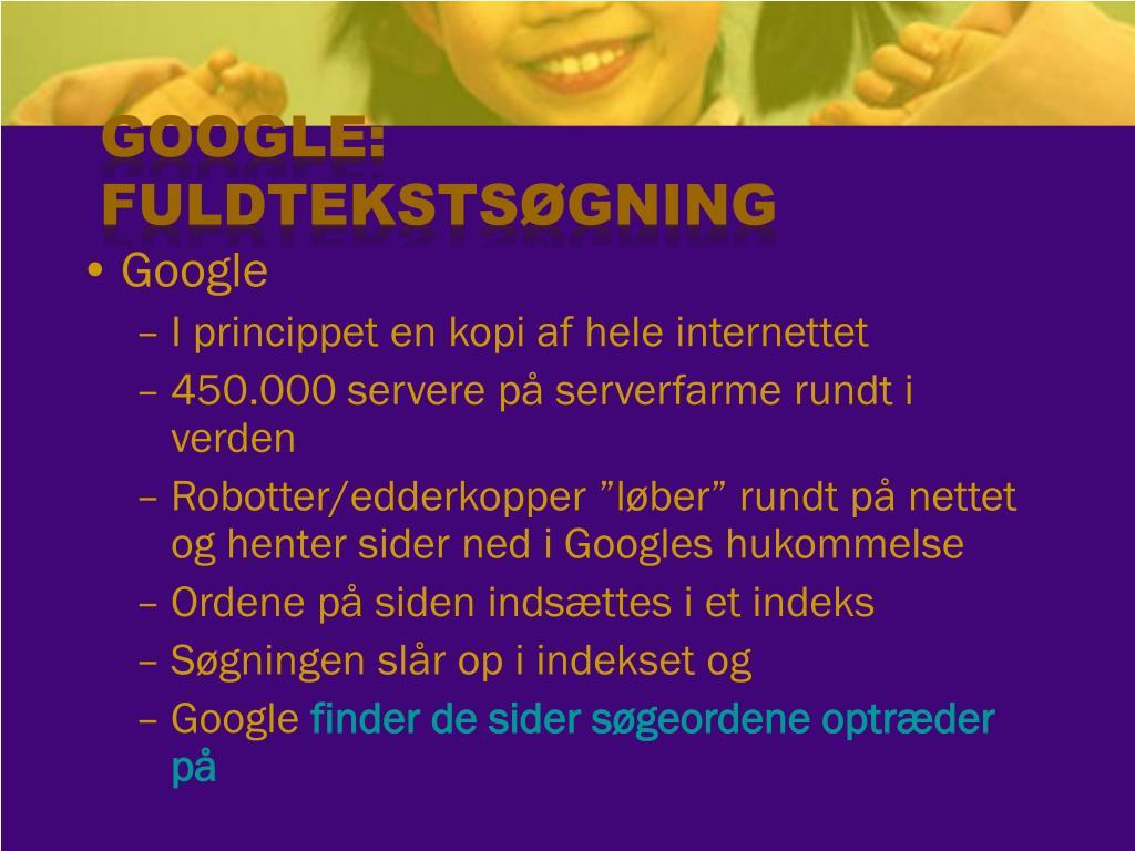 Google: Fuldtekstsøgning